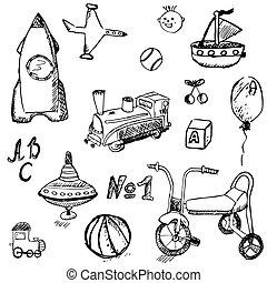 set, bambino, mano, giocattoli, bambino, disegnato