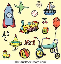 set, bambino, mano, giocattoli, disegnato, bambino