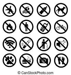 Set ban icons Prohibited symbols