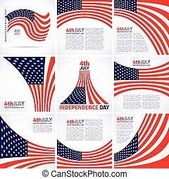 set, bandiera, giorno, americano, elegante, disegno, indipendenza