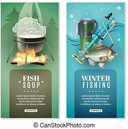 set, bandiere, 2, inverno, verticale, pesca