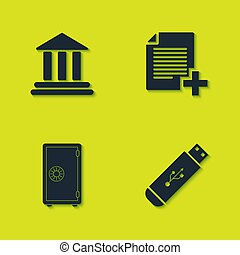 Set Bank building, USB flash drive, Safe and Add new file icon. Vector