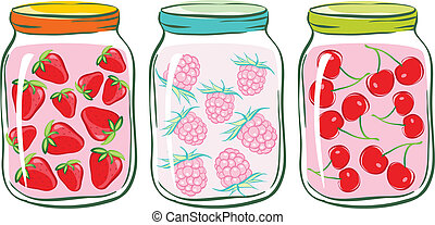 banks with fruit compote. - set banks with fruit compote. ...