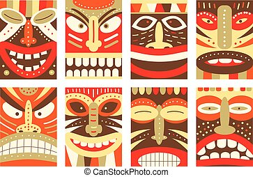 Set banner, background, flyer, placard with tiki tribal mask...