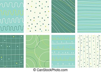 Set banner, background, flyer, placard with lines in doodle style