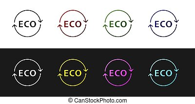 Set Banner, label, tag, logo for eco green healthy food icon isolated on black and white background. Organic product. Healthy food sticker.  Vector