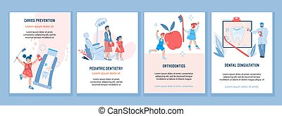 Set banners for flyers for Pediatric dentistry with children visiting dentist office, vector cartoon illustration.