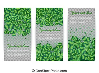 Set banners of clover leaves - Banners with shamrock...