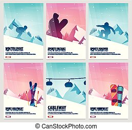 Set banners of Winter Sport. Ski and Snowboard. Mountain...
