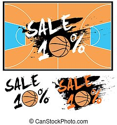 Set banners sale 10 percent with basketball