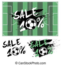 Set banners sale 10 percent with soccer ball
