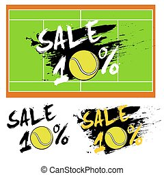 Set banners sale 10 percent with tennis ball