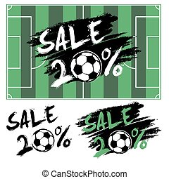 Set banners sale 20 percent with soccer ball