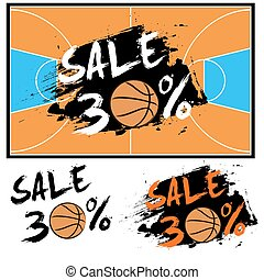 Set banners sale 30 percent with basketball