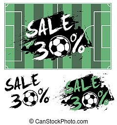 Set banners sale 30 percent with soccer ball