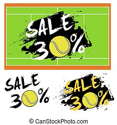 Set banners sale 30 percent with tennis ball