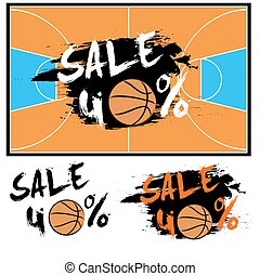 Set banners sale 40 percent with basketball