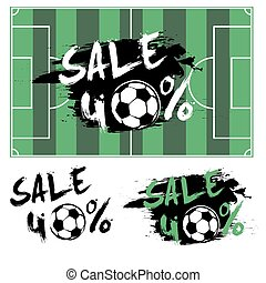 Set banners sale 40 percent with soccer ball