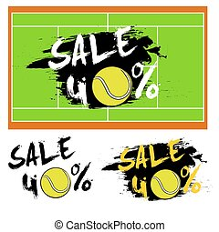Set banners sale 40 percent with tennis ball