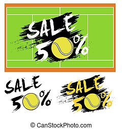 Set banners sale 50 percent with tennis ball