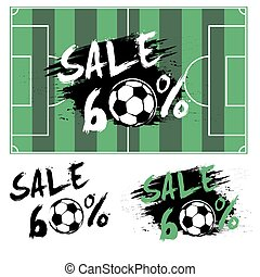 Set banners sale 60 percent with soccer ball