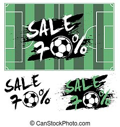 Set banners sale 70 percent with soccer ball