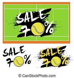 Set banners sale 70 percent with tennis ball