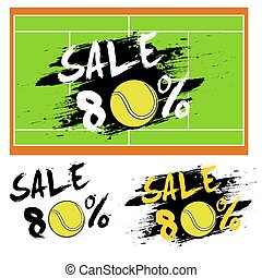 Set banners sale 80 percent with tennis ball