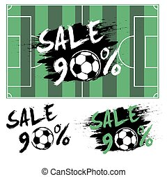 Set banners sale 90 percent with soccer ball