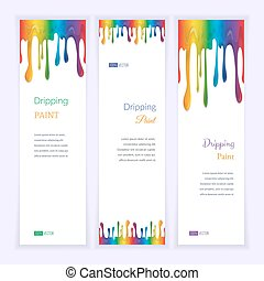 Set banners with clorful seamless dripping pain