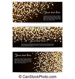 Set banners with confetti stars - Set of holiday banners...