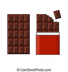 set, bar, chocolade, achtergrond., vector, witte