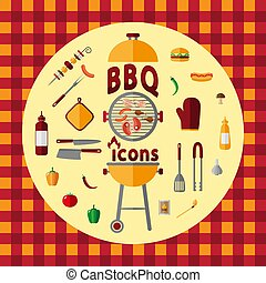 set., barbecue, icône