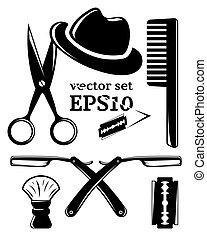 set, barbershop, accessoire