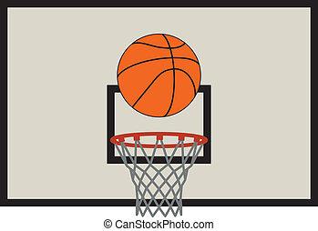 set, basketbal, vector, net, backboard