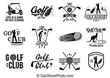 set, bastone da golf, silhouette., concetto, golfista