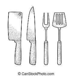 Set BBQ utensils. Spatula, fork, knifes. Vector engraving