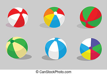 set beach balls ,grey background.