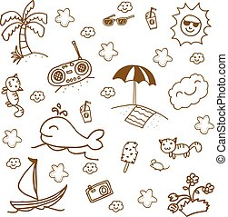 Set beach doodle art