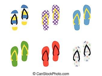 Set Beach Slippers icon, flat style isolated on white background.
