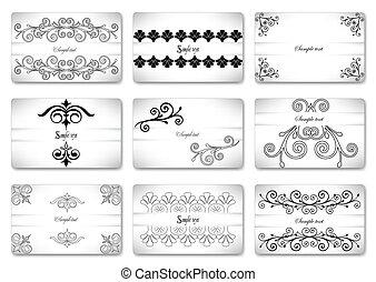 Set beautiful gift ornamental card. Vector