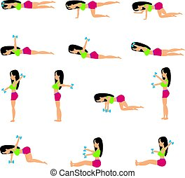 Set beautiful of young girl doing exercises in the gym.