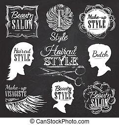 Set Beauty salon icons chalk. - Set Beauty salon, side view...