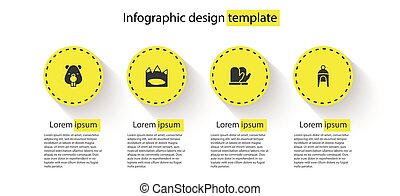 Set Beaver animal, Canadian lake, Christmas mitten and Winter hat. Business infographic template. Vector