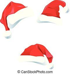 set, beeld, vector, kerstmuts, kerstmis