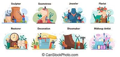 set., beeldhouwer, crafting, restaurateur, bloemist, beroep...