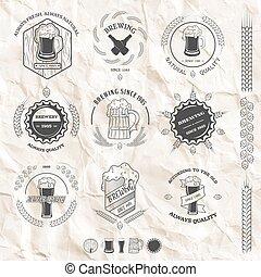 Set beer emblems, labels, badges in vintage style and design elements.