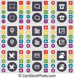 set, bel, praatje, lollipop, jouw, wolk, design., plat, kaart, gebouw, knopen, muziek, retro, venster, vork, frame, symbool., telefoon, mes, pictogram, gekleurde, groot, krediet, vector
