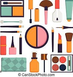 set, bellezza, fare, spazzole, cosmetico, su, moda, icon.