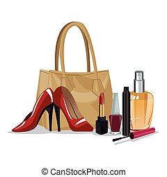 set, bellezza, wo, trucco, cosmetico, moda, accesory